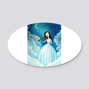 Girl with Moon and Violin Oval Car Magnet