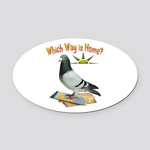 Which Way Is Home? Fun Lost Pigeon Art Oval Car Ma