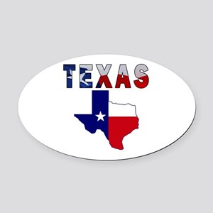 Flag Map With Texas Oval Car Magnet