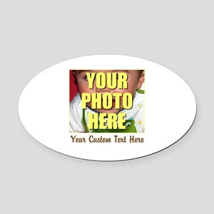 Custom Photo and Text Oval Car Magnet