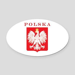 Polska Eagle Red Shield Oval Car Magnet