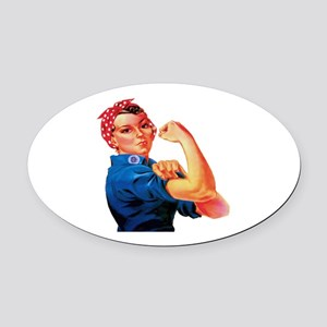 Rosie the Riveter Oval Car Magnet