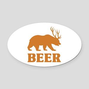 Bear+Deer=Beer Oval Car Magnet