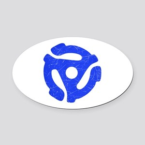 Blue Distressed 45 RPM Adapter Oval Car Magnet