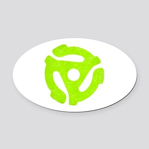 Lime Green Distressed 45 RPM Adapter Oval Car Magn