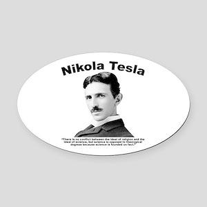 Tesla: Religion Oval Car Magnet