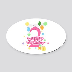 2nd Birthday with Balloons - Pink Oval Car Magnet