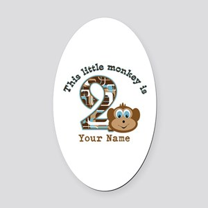 2nd Birthday Monkey Personalized Oval Car Magnet