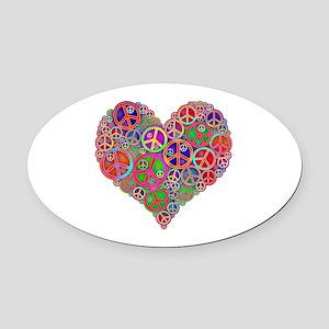 Peace Sign Heart Oval Car Magnet