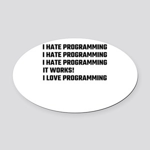 I Love Programming Oval Car Magnet