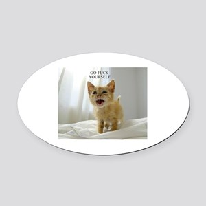 Early Morning Kitty Oval Car Magnet
