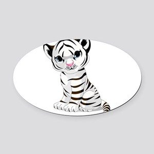 Baby White Tiger Oval Car Magnet