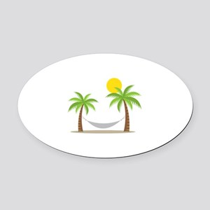 Hammock & Palms Oval Car Magnet