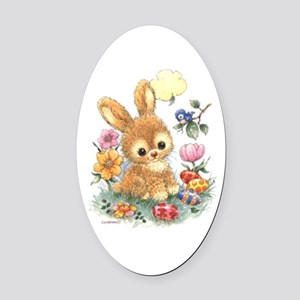 Cute Easter Bunny With Flowers And Oval Car Magnet