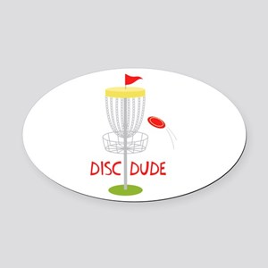 Frisbee Disc Dude Oval Car Magnet