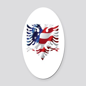 Albanian American Eagle Oval Car Magnet