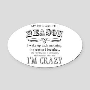 Reason I'm Crazy Oval Car Magnet
