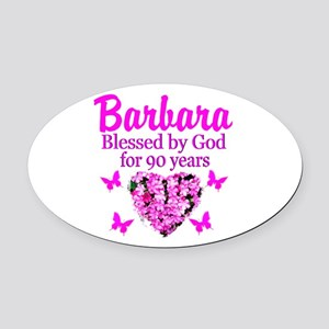 BLESSED 90TH Oval Car Magnet