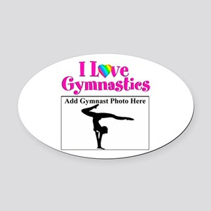 GYMNAST LOVE Oval Car Magnet