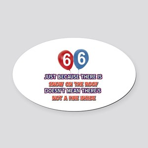 66 year old designs Oval Car Magnet