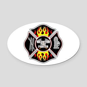 Volunteer Firefighter Oval Car Magnet