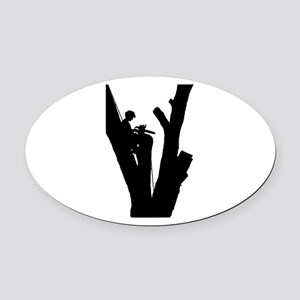 Tree Cutter Oval Car Magnet