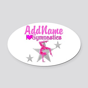 GYMNASTICS LOVE Oval Car Magnet