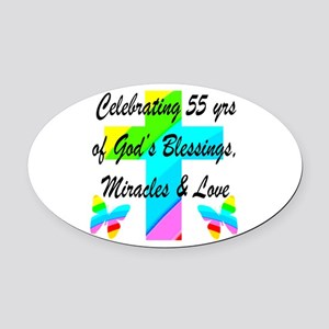 BLESSED 55 YR OLD Oval Car Magnet