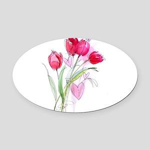 Tulip2a Oval Car Magnet