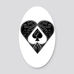Bbc & Queen Of Spades 2 Oval Car Magnet