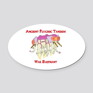 Ancient Psychic Tandem War Elephan Oval Car Magnet