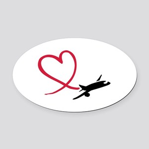 Airplane red heart Oval Car Magnet