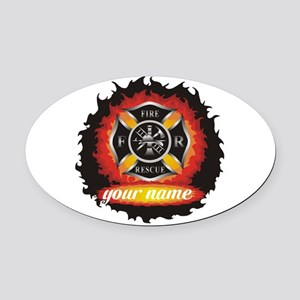 Personalized Fire and Rescue Oval Car Magnet