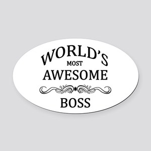 World's Most Awesome Boss Oval Car Magnet