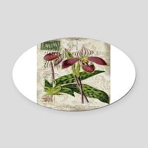 vintage orchid french botanical  Oval Car Magnet