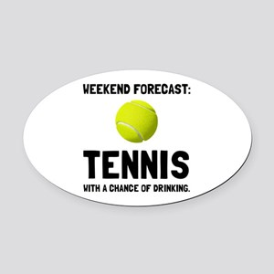 Weekend Forecast Tennis Oval Car Magnet