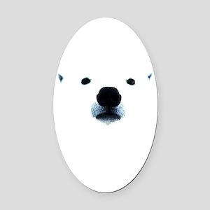 Polar Bear Face Oval Car Magnet