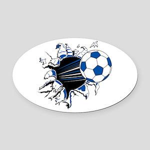 Soccer Ball Burst Oval Car Magnet