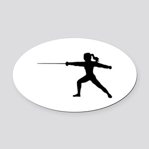 Girl Fencer Lunging Oval Car Magnet