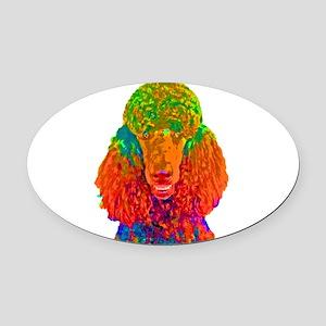 Psychadelic Poodle Oval Car Magnet