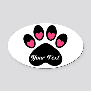 Personalizable Paw Print Oval Car Magnet