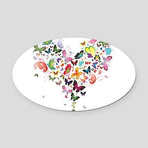 Heart of Butterflies Oval Car Magnet