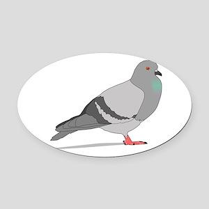 Cartoon Pigeon Oval Car Magnet