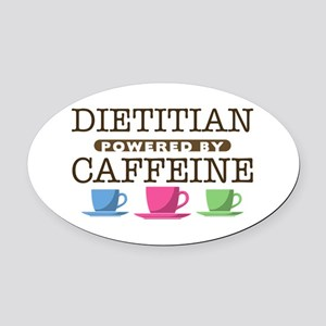 Dietitian Powered by Caffeine Oval Car Magnet