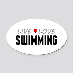 Live Love Swimming Oval Car Magnet