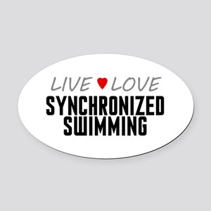 Live Love Synchronized Swimming Oval Car Magnet