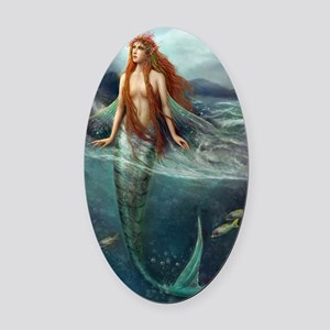 Mermaid of Coral Sea Oval Car Magnet