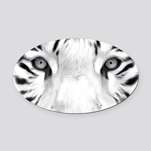 Realistic Tiger Painting Oval Car Magnet