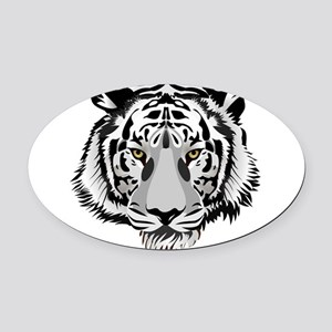 White Tiger Face Oval Car Magnet
