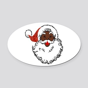sequin African santa claus Oval Car Magnet